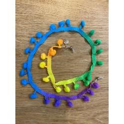 Cordon multicolor con pompones